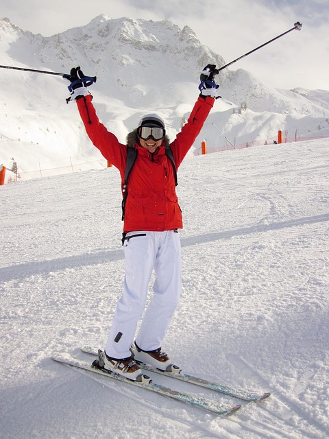 skieur joyeux